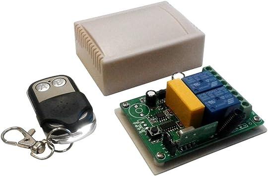 Módulo Tarjeta relé Receptor 2 Canales Ch 220 V 230 V 10 A+ Mando a Distancia 433 MHz inalámbrico Puertas correderas Luces domótica Interruptor Receptor relé: Amazon.es: Electrónica