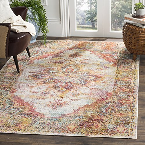 Distressed Cream - Safavieh Crystal Collection CRS508V Cream and Rose Distressed Medallion Area Rug (4' x 6')