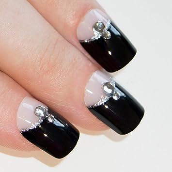 uas postizas manicura francesa puntas medianas cristal negro cobertura total de bling art ru