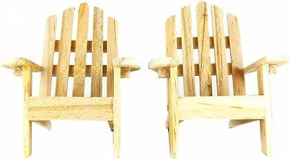 Mini Decorative Adirondack Style Plain Wood Chairs (Set Of 2)