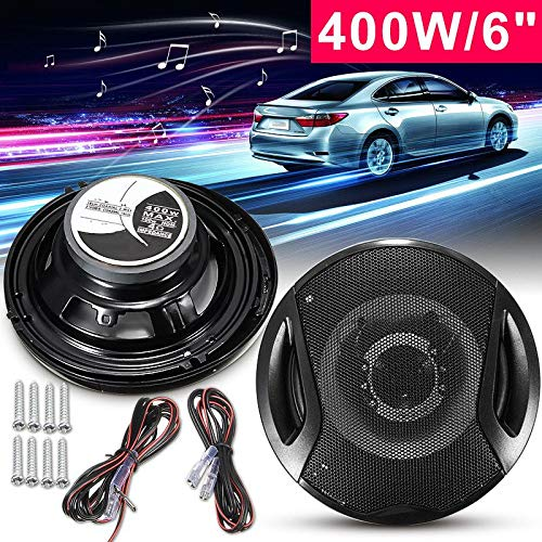 - Kavas - 2Pcs Universal 6 Inch 12V 400W Car Subwoofer Max Iron Plastic 2-Way 2 Voice Coaxial Audio Car Speakers Car Sound