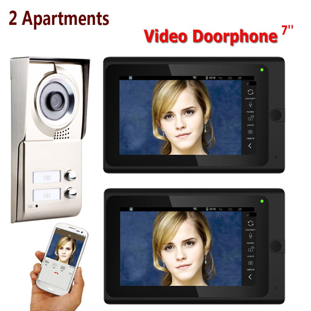 XUEM Video Doorbell 7Inch Record WiROT WiFi 2 Apartments Phone Intercom System IR-Cut HD 1000TVL Doorbell Camera with 2 Button 2 Monitor Waterproof