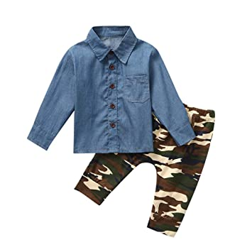 2PCS Baby Boys Cotton Camouflage T-Shirt Tops Pants Set Kids Clothes Outfits