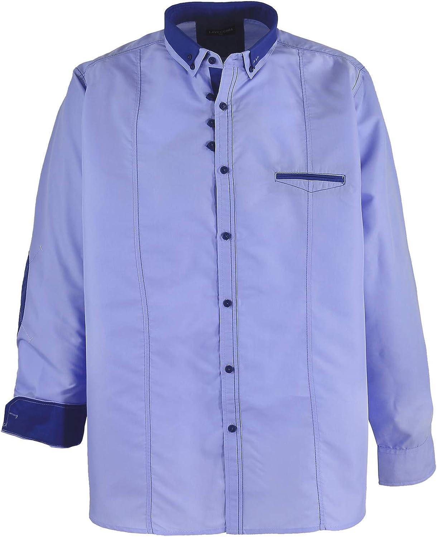 Camisa de manga larga en azul claro / Lavecchia hasta talla 7XL: Amazon.es: Ropa y accesorios