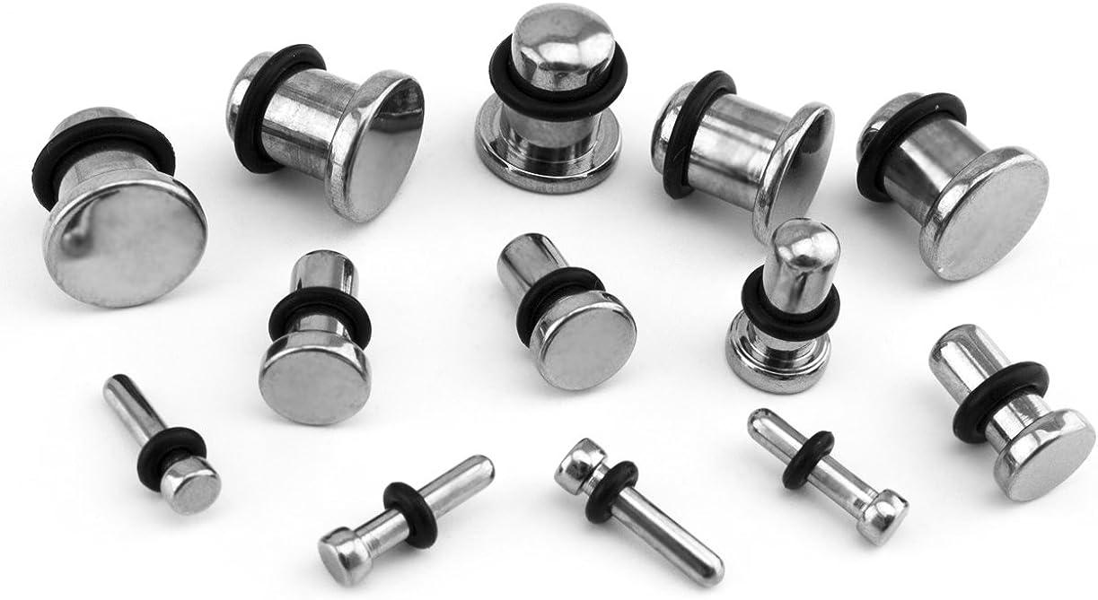 Urban Body Jewelry Pair of 14 Gauge (14G - 1.6mm) Titanium Single Flare Solid Plugs