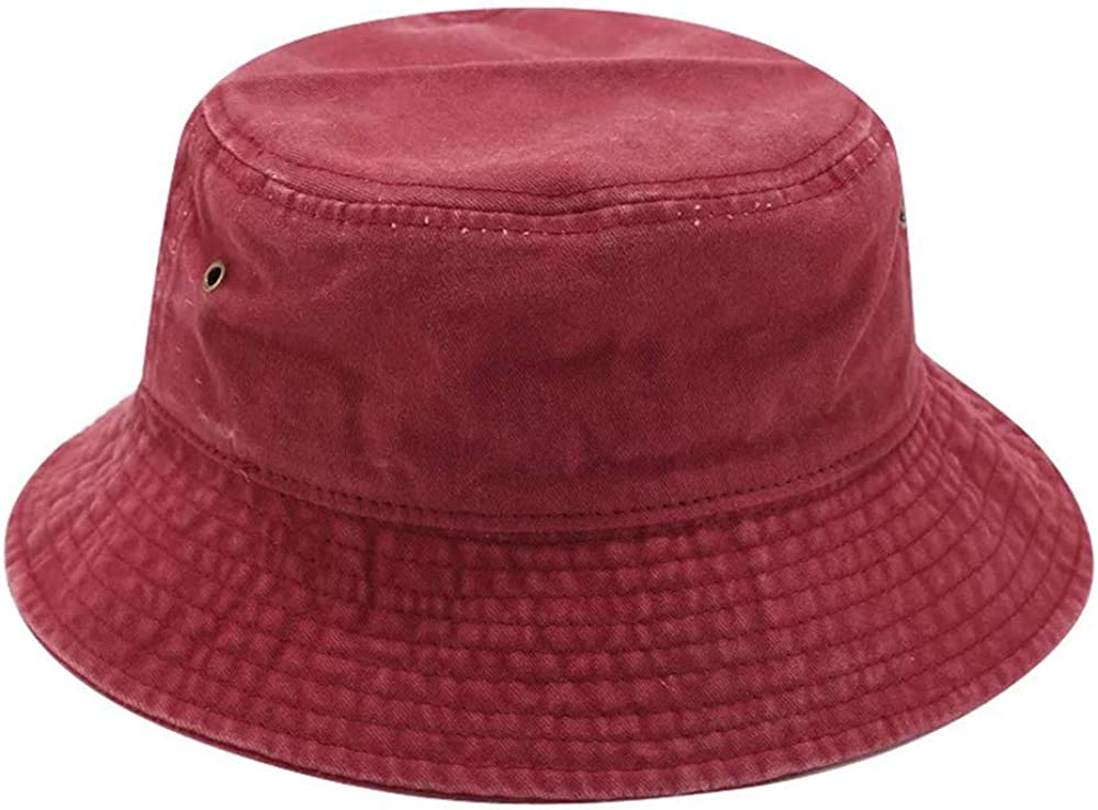 BYERCLUB Vintage Solid Colored Bucket Hat for Men and Women Cotton Sun Hat UV Protection Foldable Washable