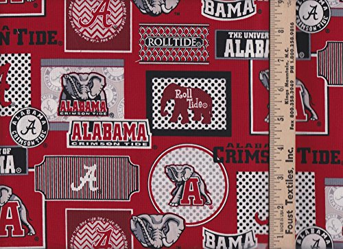New University of Alabama Roll Tide Pattern 1130 Sykel Cotton Fabric
