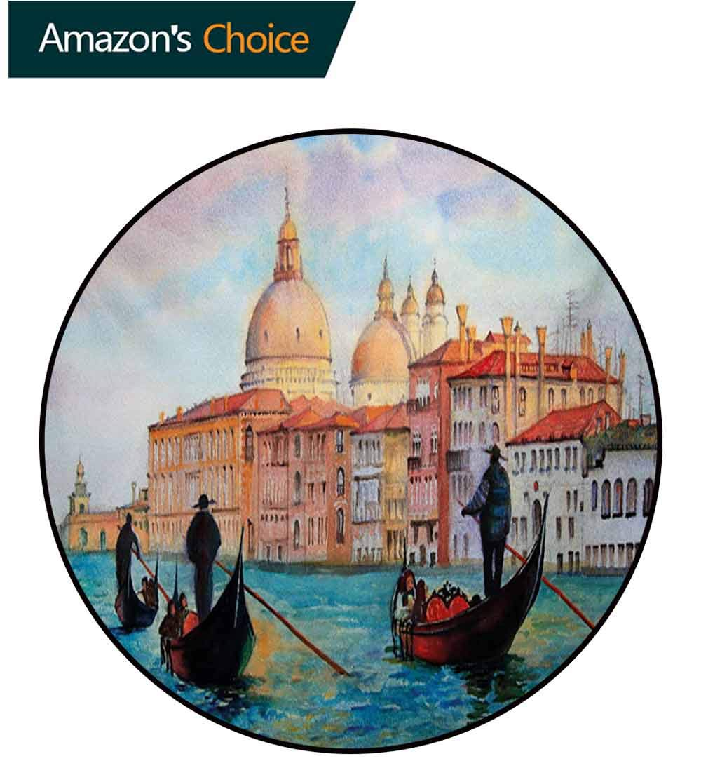 RUGSMAT Venice Modern Washable Round Bath Mat,Watercolor Painting of Venice Serene Cityscape Antique Gondolas Scenic Non-Slip Bathroom Soft Floor Mat Home Decor,Round-63 Inch Peach Pale Blue Red