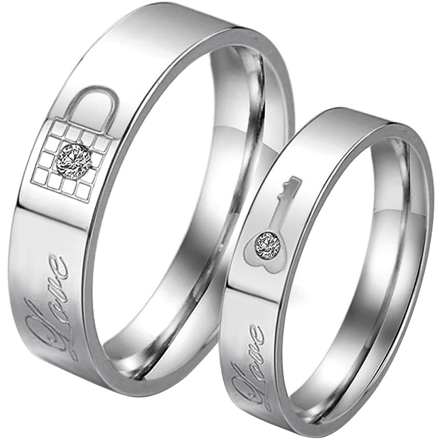 JewelryWe His &Hers Matching Set Stainless Steel Couple Rings ...