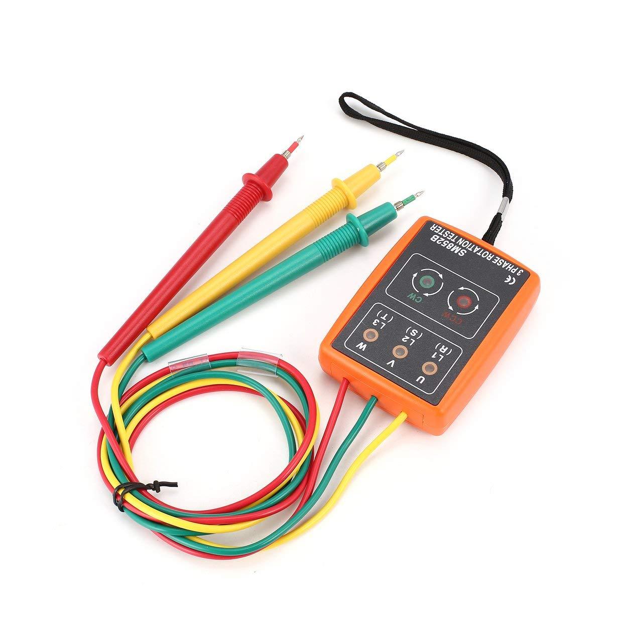 Tree-on-Life SM852B Probador de rotaci/ón trif/ásico Detector de fase digital LED Zumbador Medidor de secuencia de fase Probador de voltaje 60V ~ 600V AC