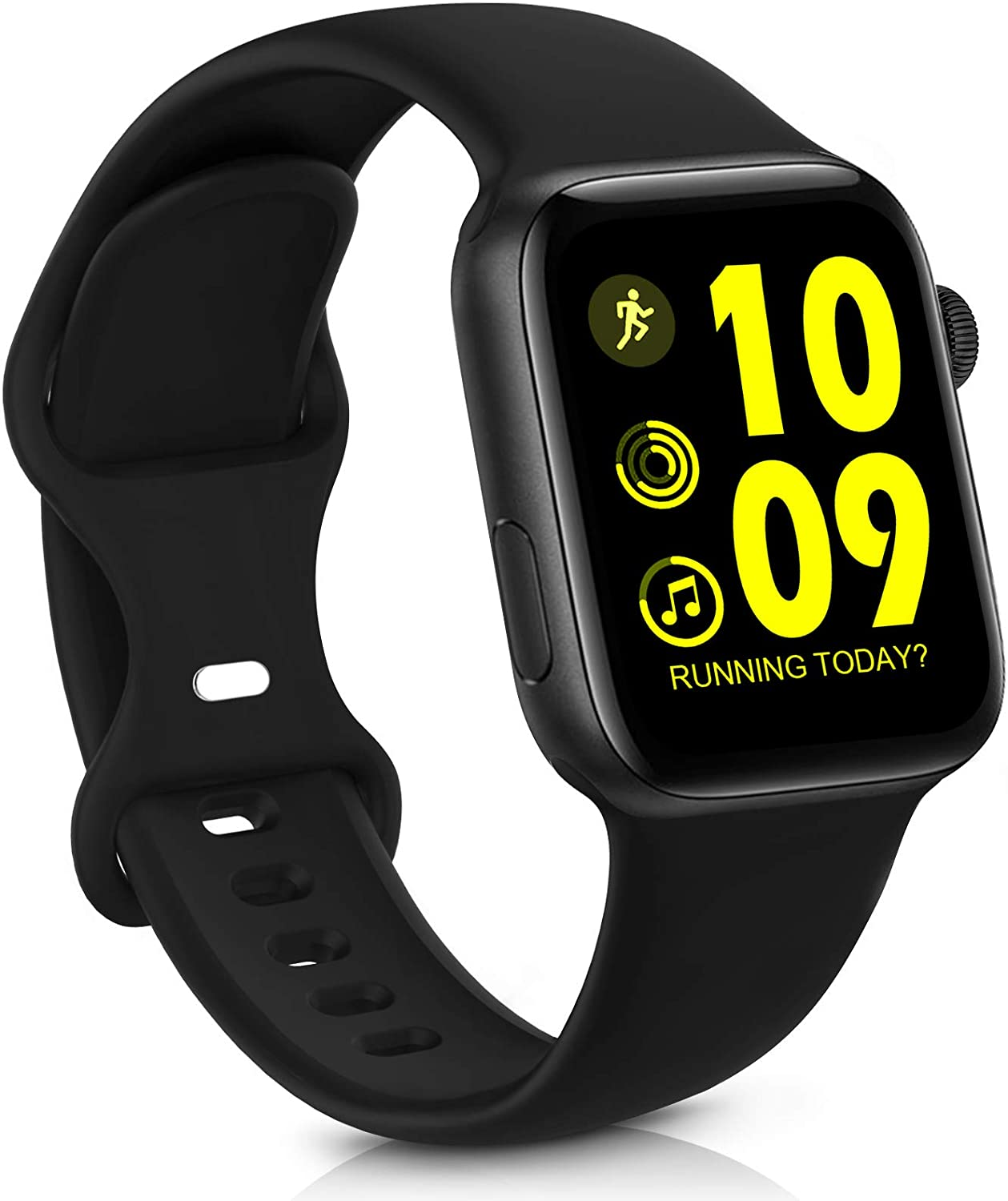 GeekSpark Sport Band Compatible with Apple Watch Band 38mm 40mm 42mm 44mm for Women Men, Soft Silicone Replacement Strap Band for iwatch SE/Series 6/5/4/3/2/1 Black 42mm/44mm S/M