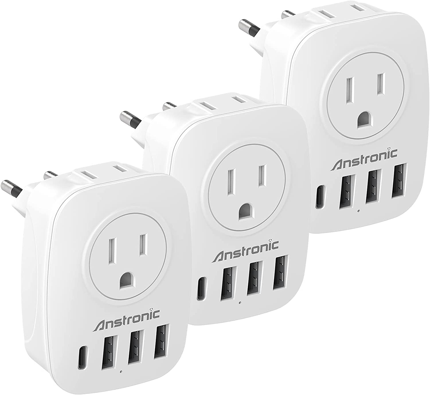 [3-Pack] European Plug Adapter, Anstronic International Travel Power Adapter with 2AC Outlets & 3USB Ports & 1Type C Charger from USA to Most of Europe EU Spain Germany France Italy Israel