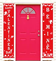 Valentine's Day Banner Decorations -V-Day Porch Sign Door House Party Decor Supplies