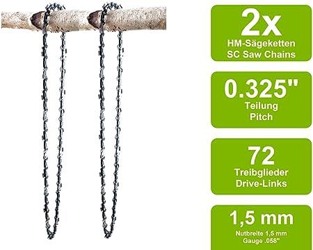 2 Sägeketten Schwert passend Secura MA460050cm 0.325 76TG 1,5mm