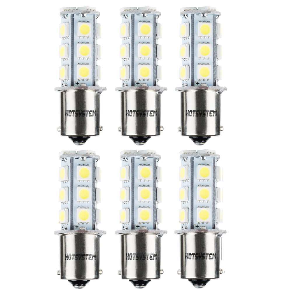 HOTSYSTEM LED Light Bulbs 1156 1141 7506 P21W BA15S 18-5050SMD for Car RV SUV Camper Trailer Trunk Interior Reversing Backup Tail Turn Signal Corner Parking Side Marker Lights WarmWhite,Pack of 10
