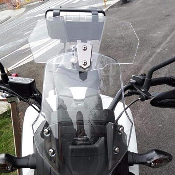 Dinapy Universal Motorrad Windschild Clip On Windschild Windschutzscheibe Verlänger Erweiterung Spoiler Aufsatz Verstellbare Windschutzscheiben Zubehör Durchsichtig Grau Auto