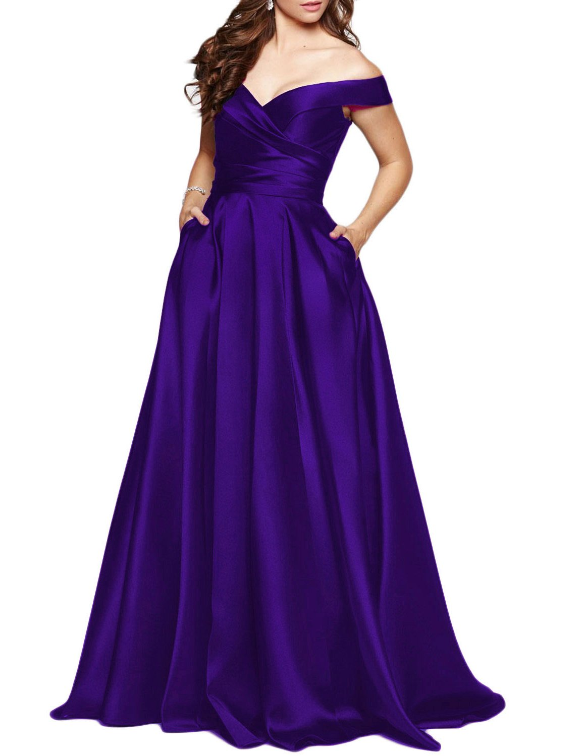 BEAUTBRIDE Women's Off Shoulder Long Prom Dress Evening Gown with Pocket Dark Purple 8