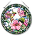 Amia Handpainted Glass Hummingbird and Hibiscus Suncatcher, 6-1/2-Inch