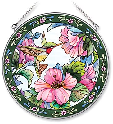 Amia Handpainted Glass Hummingbird and Hibiscus Suncatcher, 6-1/2-Inch