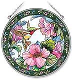 #9: Amia Handpainted Glass Hummingbird and Hibiscus Suncatcher, 6-1/2-Inch