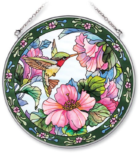 (Amia Handpainted Glass Hummingbird and Hibiscus Suncatcher,)