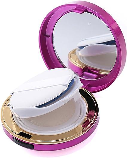 Estuche de maquillaje de 15 ml, vacío, portátil, de lujo, con almohadilla de aire, base circular y espejo, color rosa: Amazon.es: Belleza