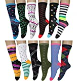 12 Pack Women Colorful Patterned Fashion Crew Socks by Frenchic (Polka Stripe)