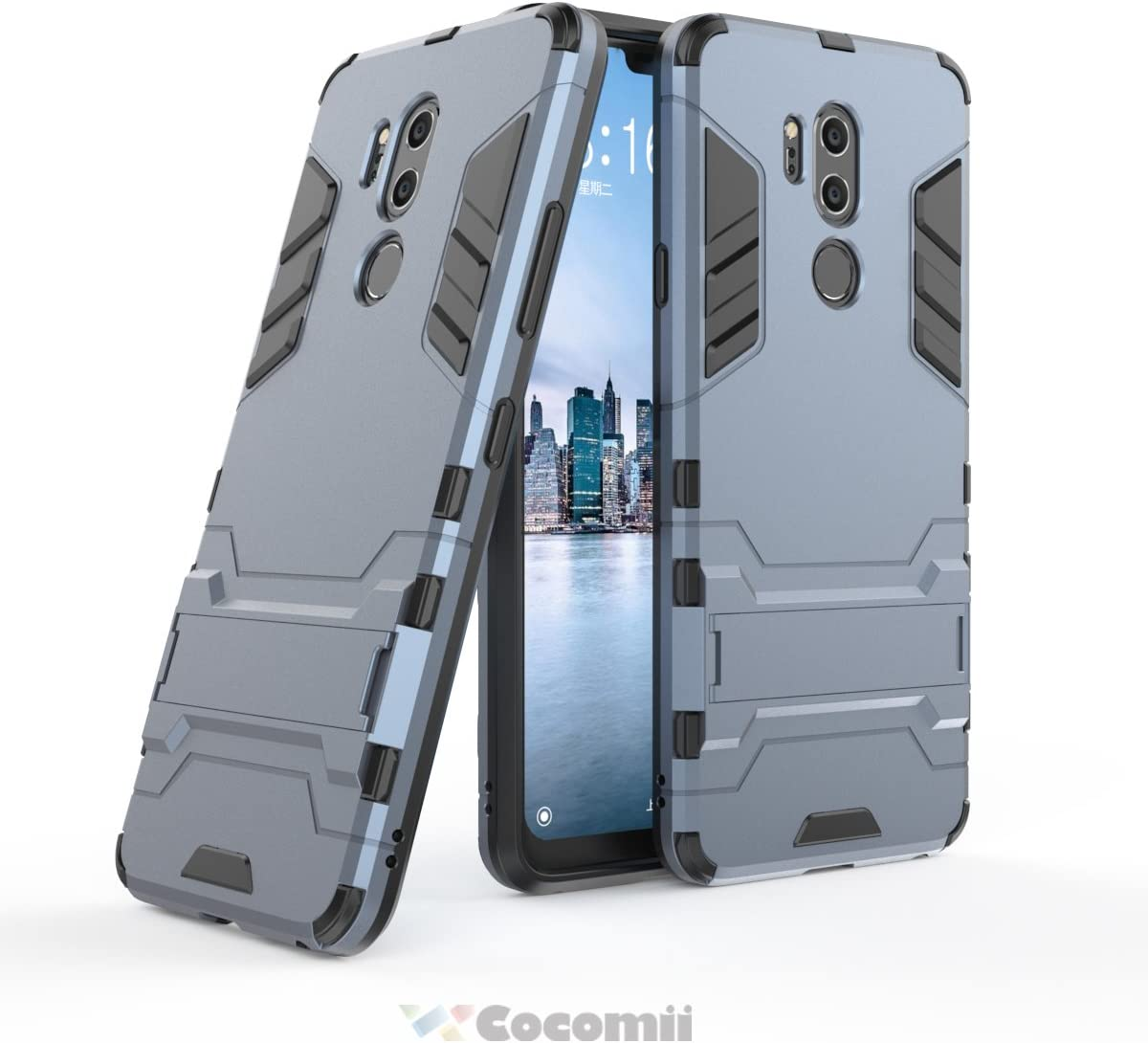 Cocomii Iron Man Armor LG G7/G7+ ThinQ/G7 One Case New [Heavy Duty] Premium Tactical Grip Kickstand Shockproof Hard Bumper [Military Defender] Full Body Dual Layer Rugged Cover for LG G7 (I.Black)