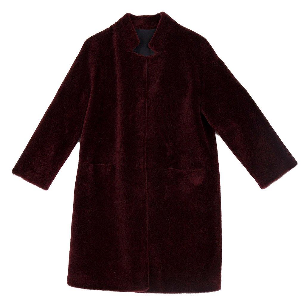 Fur Story Women's Long Real Lamb Coat Warm Fashion Shearling Coat 3/4 Sleeve Stand up Collar US10 (Wine)
