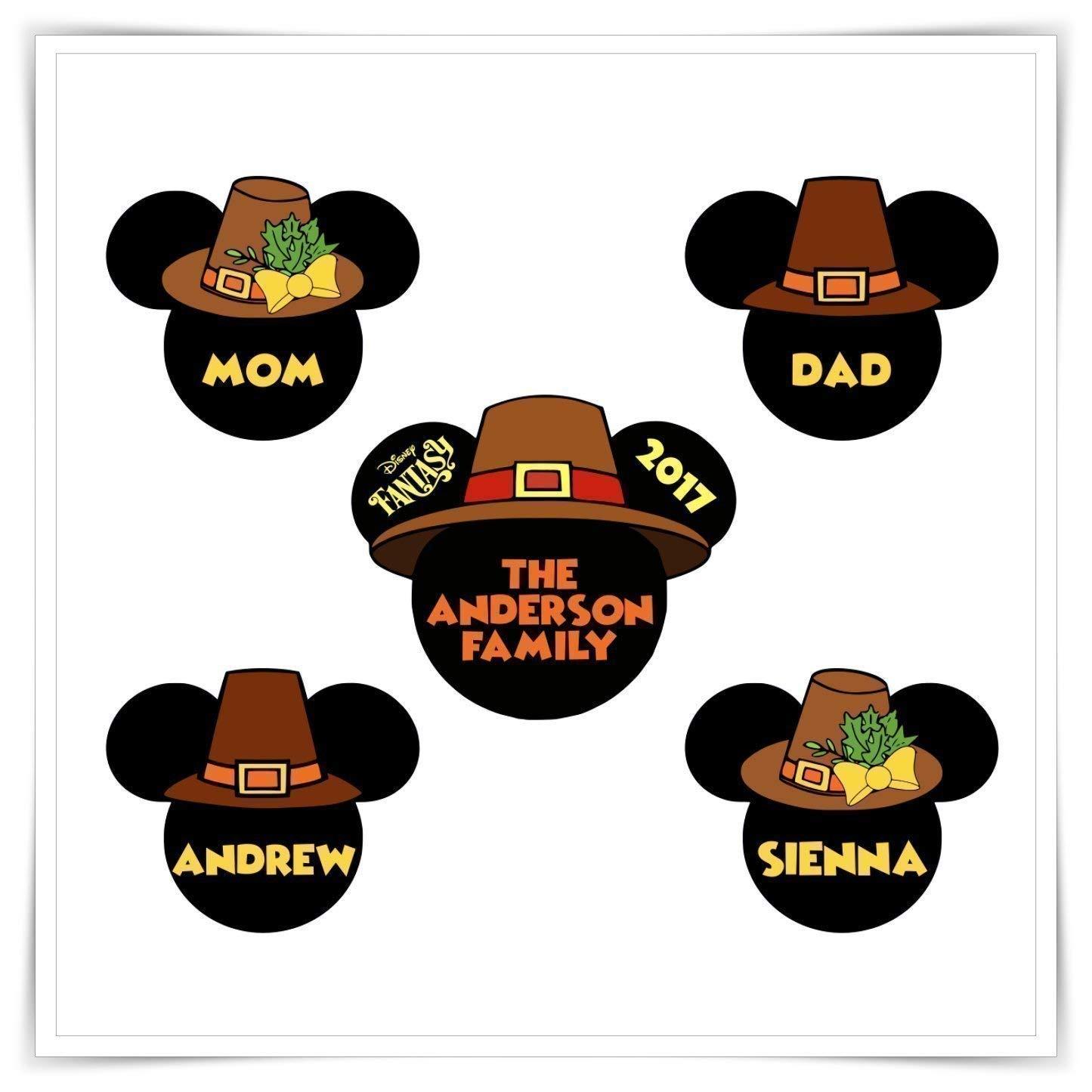 Handmade Thanksgiving Customized Family Magnet Personalized Disney Inspired Thanksgiving Pilgrim Magnet Stateroom Pilgrim Heads Door Magnets