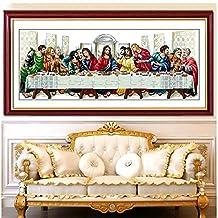 Dahlia DIY The Last Supper Christian Jesus Counted Cross Stitch Kits 11CT Print Embroidery Handmade Needlework Wall Home Decor (Silk Thread 92x45CM)