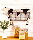 The Lakeside Collection Farmhouse Kitchen Wall Baskets Cow
