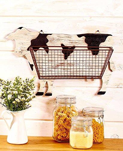 The Lakeside Collection Farmhouse Kitchen Wall Baskets Cow by The Lakeside Collection