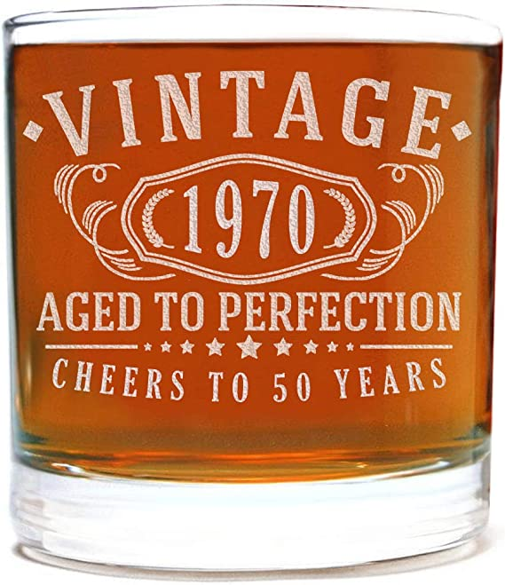 Vintage 1970 Etched 11oz Whiskey Rocks Glass - 50th Birthday Aged to Perfection - 50 years old gifts Bourbon Scotch Lowball Old Fashioned