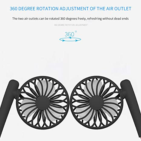 Coohole Free Portable Fan USB Rechargeable Hand Free Neckband Lazy Neck Hanging Style Dual Cooling Mini Wind Fan for Traveling Outdoor Office Room Blue