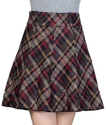 b50a601adf Femirah Women's Plaid Wool Midi Skirt A-Line Pleated Vintage Winter Skirts  (Waist 69cm