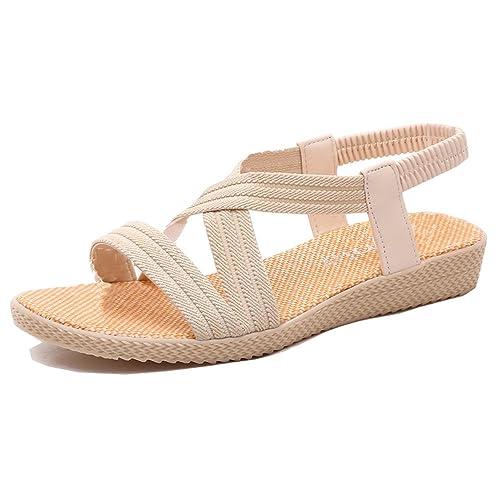 90141101 Mujer Sandalias Cuña Planas Verano Playa Tobillo Correa Slingback Thong  Negro Azul Marrón Rojo Beige 35-41: Amazon.es: Zapatos y complementos