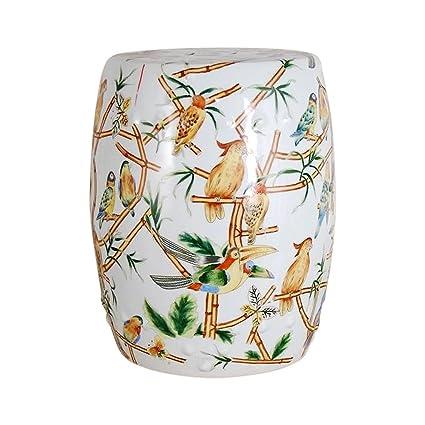 Fantastic Amazon Com Chinese Multicolor Bird Motif Round Garden Stool Ncnpc Chair Design For Home Ncnpcorg