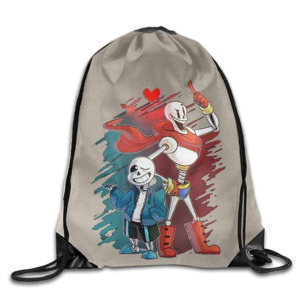 GONIESA Fashion Undertale San and Papyrus Unisex Drawstring Gym Sack Sport Bag