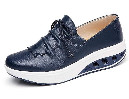 Aitaobao Mujer Cuero Mesh Adelgazar Zapatos Deporte Cuña Sneakers Caminar Fitness Transpirable Casual Sneaker: Amazon.es: Zapatos y complementos