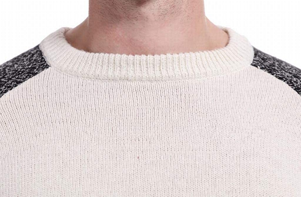 Fubotevic Mens Hollow Out Crew Neck Contrast Color Winter Warm Long Sleeve Pullover Sweater