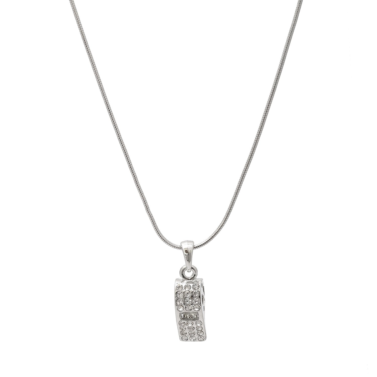 Spinningdaisy Silver Plated Crystal Whistle Necklace