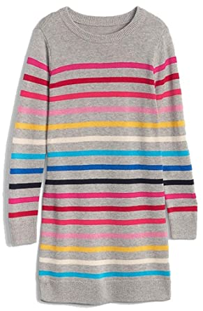 ae18106299d Image Unavailable. Image not available for. Color  Gap Kids Girls Gray  Crazy Stripe Sweater Dress ...