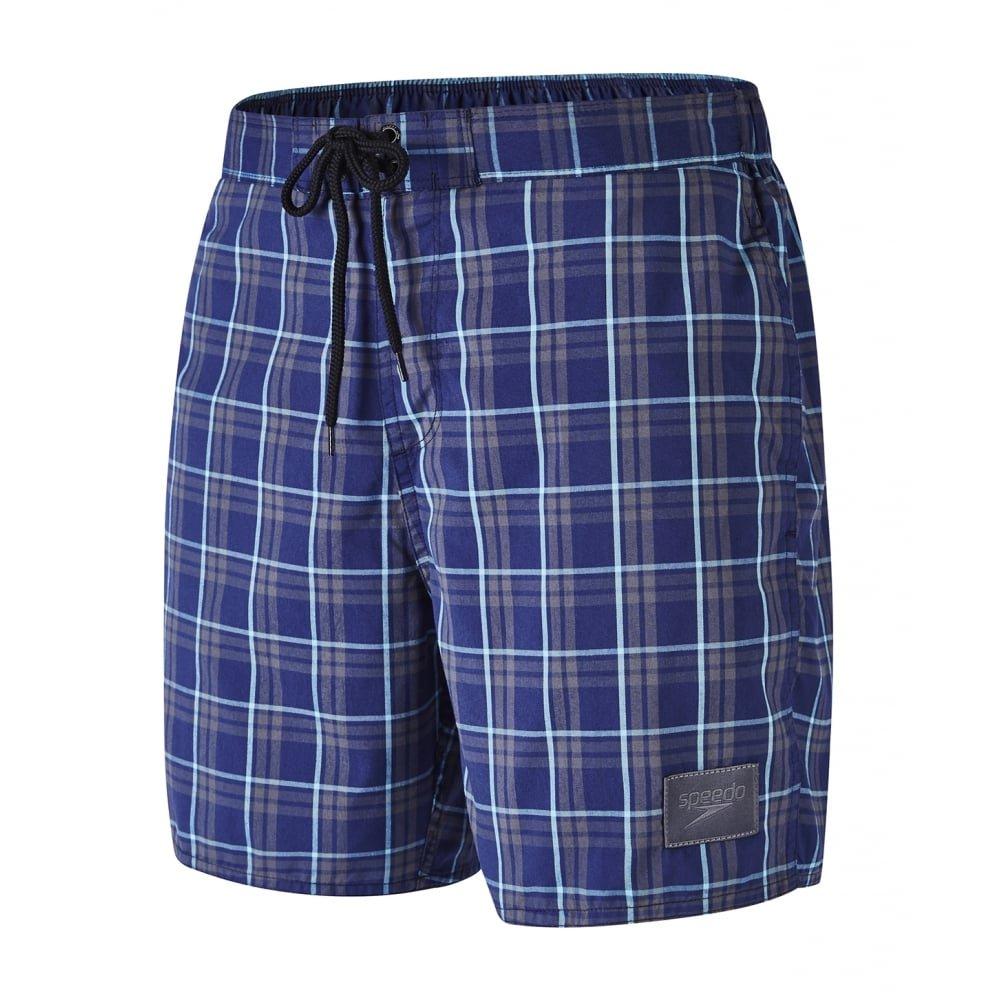 Speedo Men's Check Leisure 16'' Swim Shorts, Navy/Charcoal Medium Navy/Charcoa