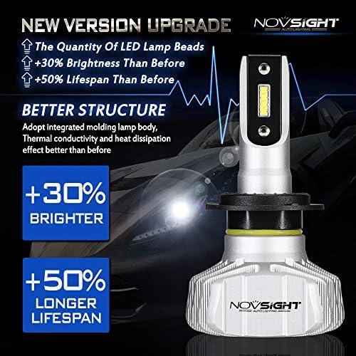 NOVSIGHT H7 - Bombillas LED para faros delanteros (50 W (25 W x 2 ...