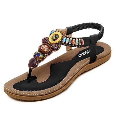 4846e0924d7708 Womens New Rhinestone Elastic T-Strap Bohemia Style Roman Bead Folk Style  Round Peep Toe