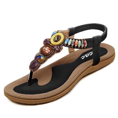 16eac7d9f80b44 Womens New Rhinestone Elastic T-Strap Bohemia Style Roman Bead Folk Style  Round Peep Toe