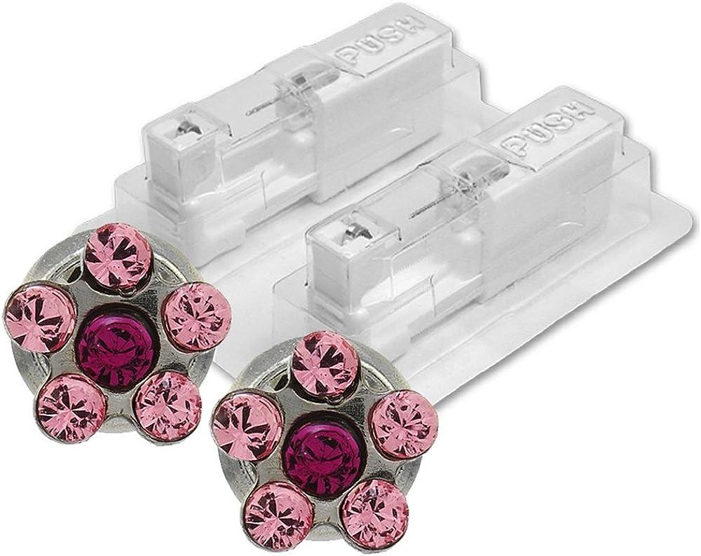 1par de Pendientes médicos Studex, diseño de flor rosa/fucsia