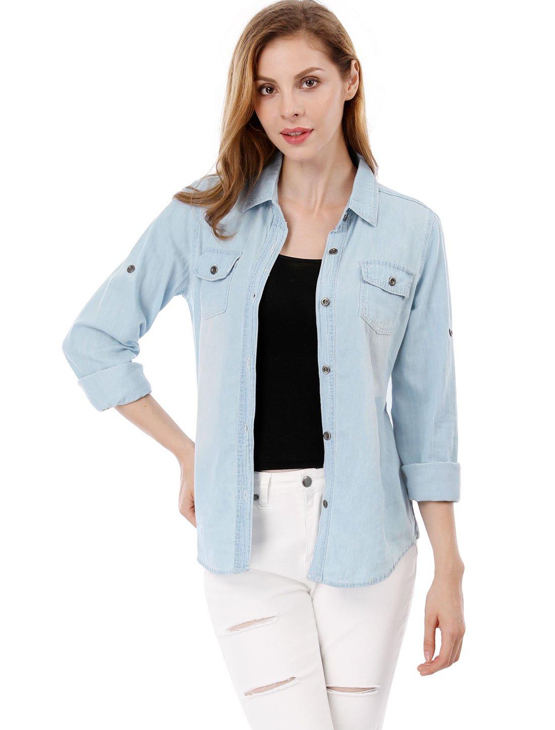 Allegra K Women's Long Sleeves Point Collar Casual Western Denim Shirt Light Blue M