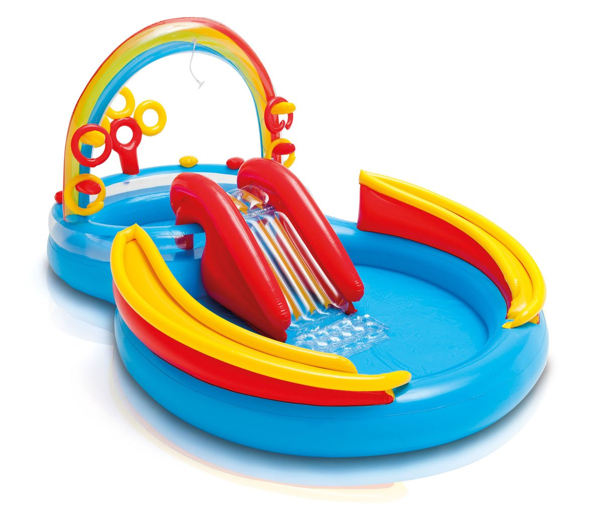 Intex Inflatable Kids Pool,Water Play Center w/Slide + Quick Fill Air Pump by Intex